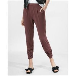 Express Mid Rise Ruched Ankle Pleated Soft Pants